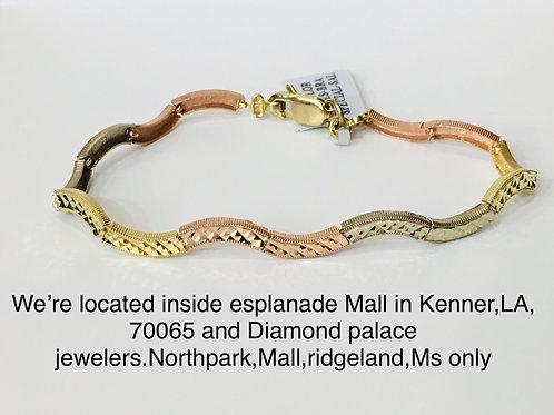 10k rose,white and yellow gold bracelet