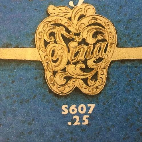 10K Gold 25 cents apple monogram ring