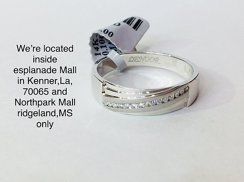 14K WHITE GOLD WITH 0.10CT DIAMOND MALE BAND