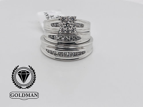 10K WHITE GOLD 0.75CT DIAMOND TRIO SET ON SALE
