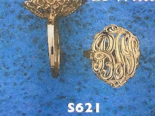 10K Gold basket 5cents size monogram ring