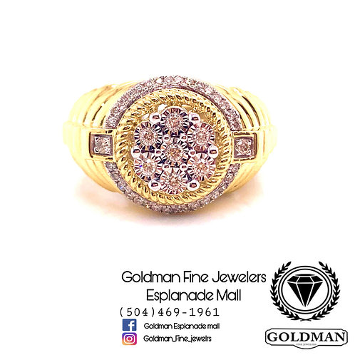 10K YELLOW GOLD 0.40CT DIAMOND MENS RING ON SALE