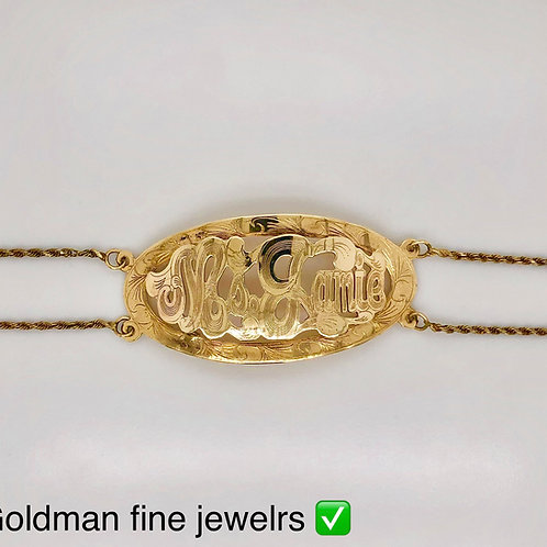 10K YELLOW GOLD MONOGRAM BRACELET