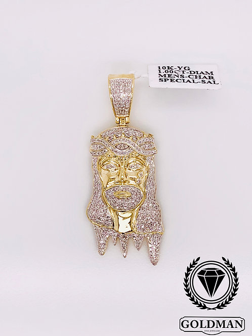10K YELLOW GOLD 1.00CT DIAMOND MENS CHARM