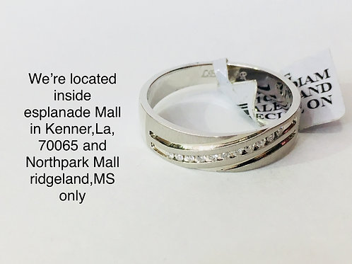 14K WHITE GOLD WITH 0.11CT DIAMOND MALE BAND