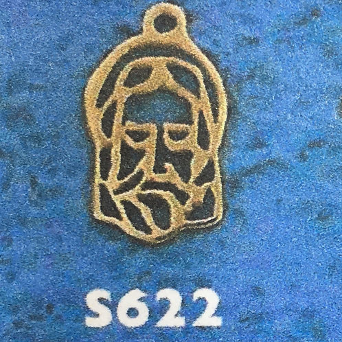 10K Gold 5cents Jesus head men pendant