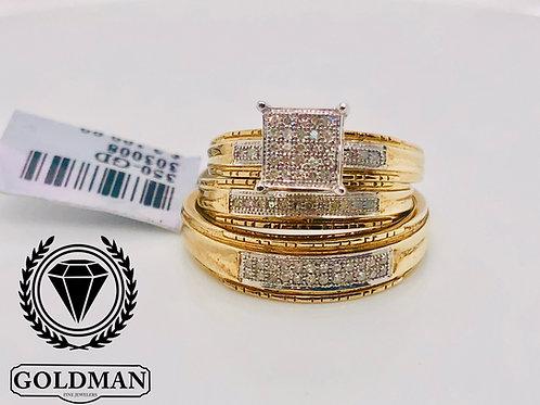 10K YELLOW GOLD 0.20CT DIAMOND TRIO SET ON SALE