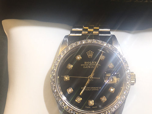 Pre owned 14 k Gold 1.00 ct diamond Rolex Watch