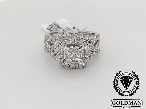 10K WHITE GOLD 1.00CT DIAMOND SET OF TWO RINGS
