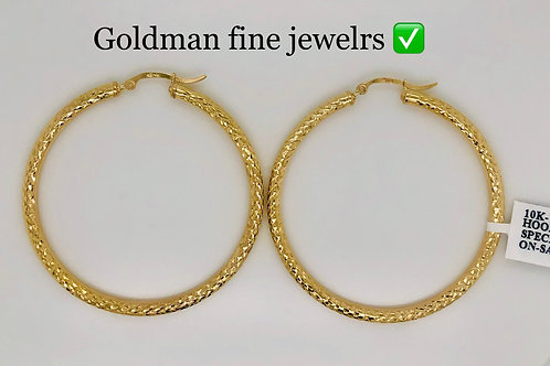 10K YELLOW GOLD DOUBLE DOLLAR DIAMOND CUT LADIES HOOPS