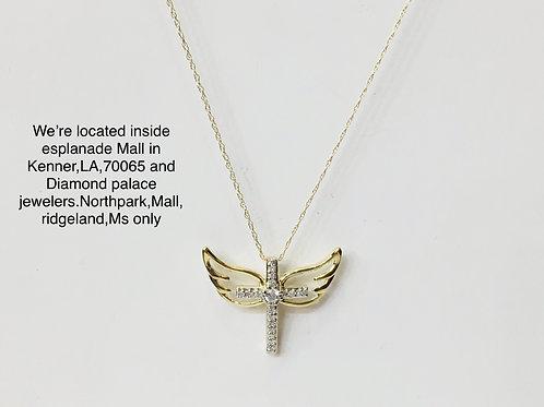 10k yellow gold 0.10ct diamond female pendant with chain