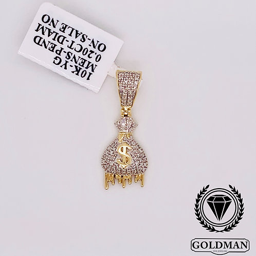 10K YELLOW GOLD 0.20CT DIAMOND MENS CHARM SPECIAL SALE