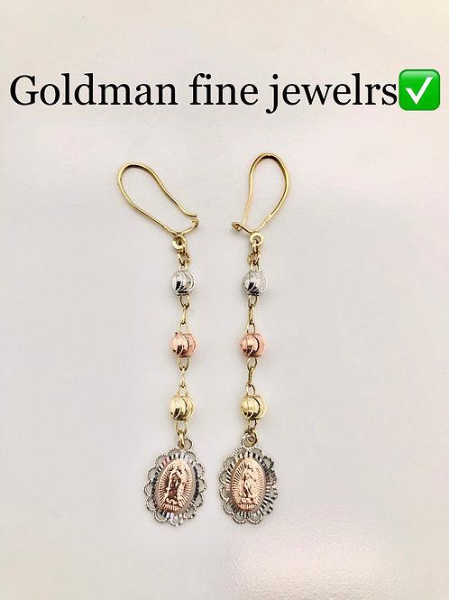 14k tri color female earrings