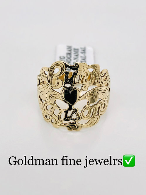 GOLD HEART RING WITH 2 NAMES