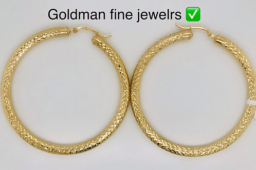10K YELLOW GOLD JUMBO DIAMOND CUT LADIES HOOPS