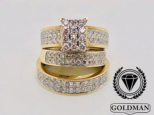 10K YELLOW GOLD 2.00CT DIAMOND TRIO SET