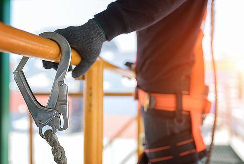 a man using safety gear