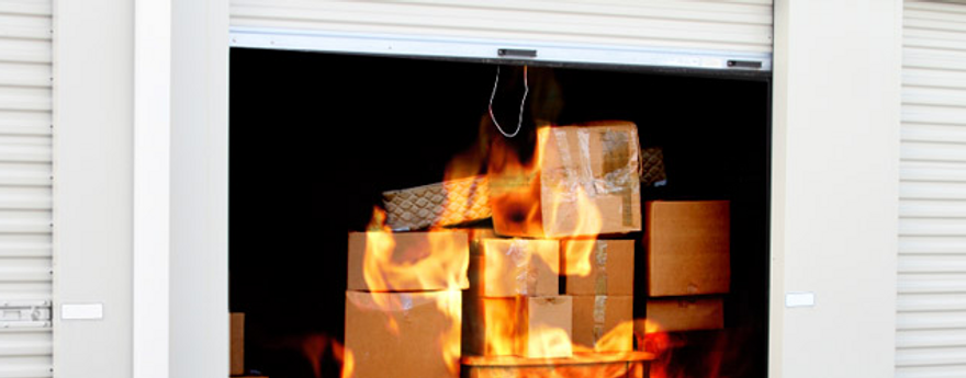 boxes burning in a garage