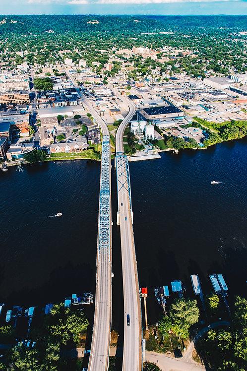 """Mississippi River Bridges 1 12x18"""" Framed (vertical)"""