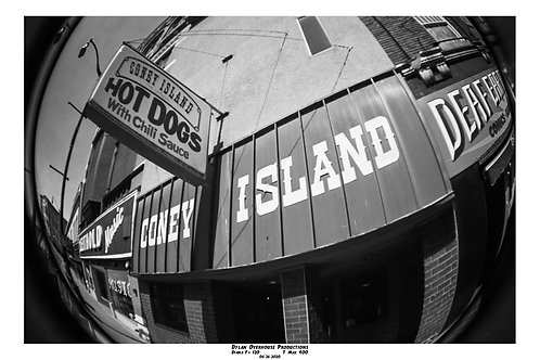 "12x18"" Print Coney Island B&W Film Bordered"