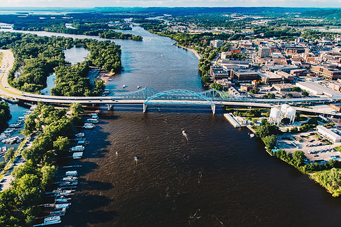"Mississippi River Bridges 2 12x18"" Framed"