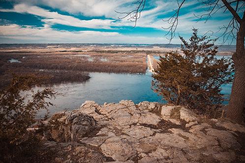 """Alma, Wisconsin Overlook 12x18"""" Framed"""