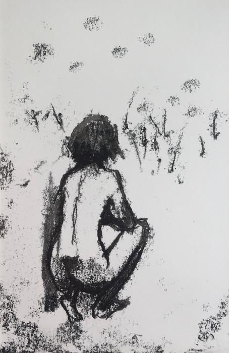 Squatting figure Monoprint