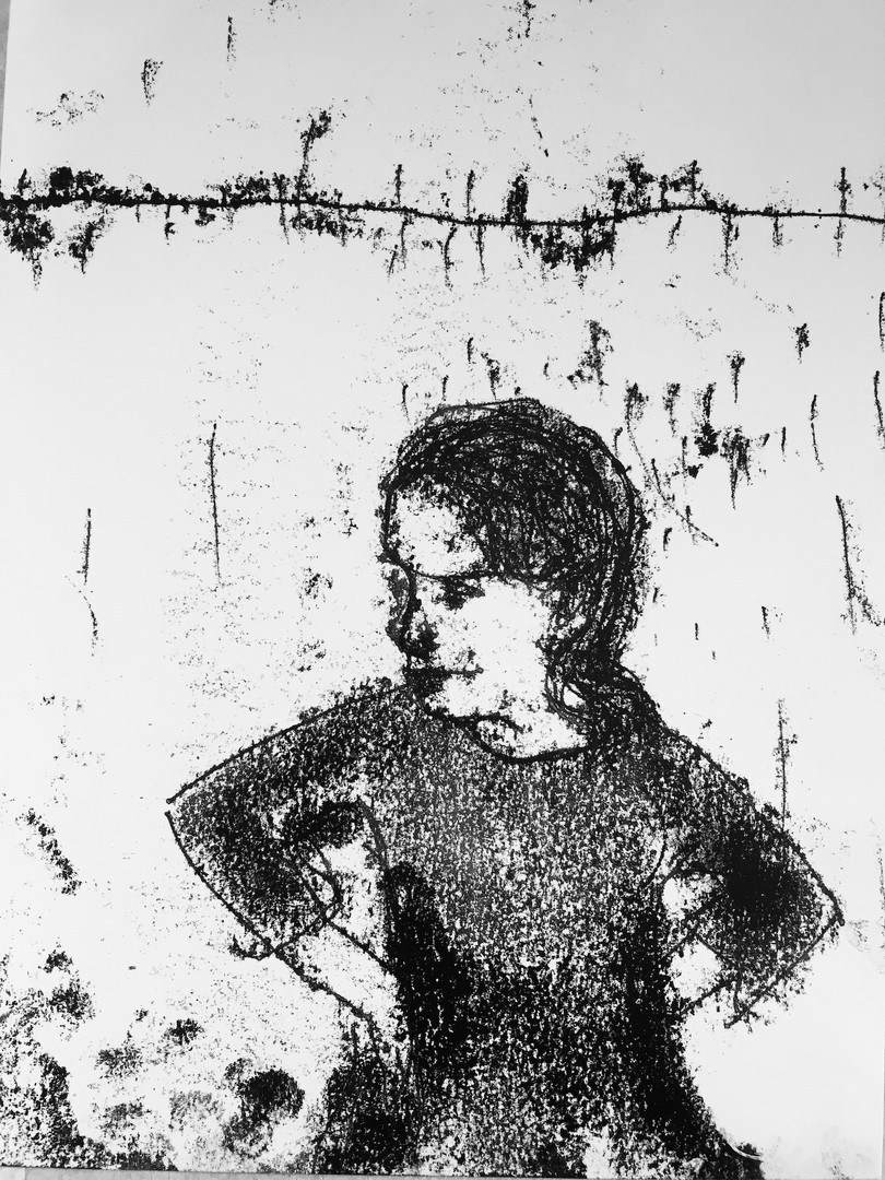 Hands on hips Monoprint