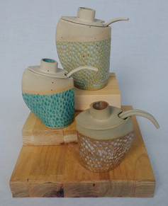 Mustard Pots/ Honey Pots with spoons
