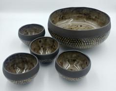 Black fish scale bowls (various sizes)