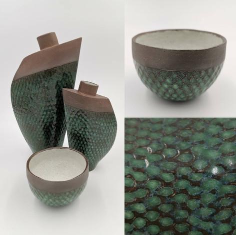 Dark red vase with emerald green glaze