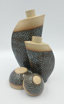 Bird and fish scale vases