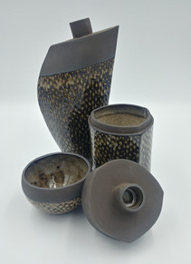 Black Clay Bird Scale Vases, Jars and Bowls
