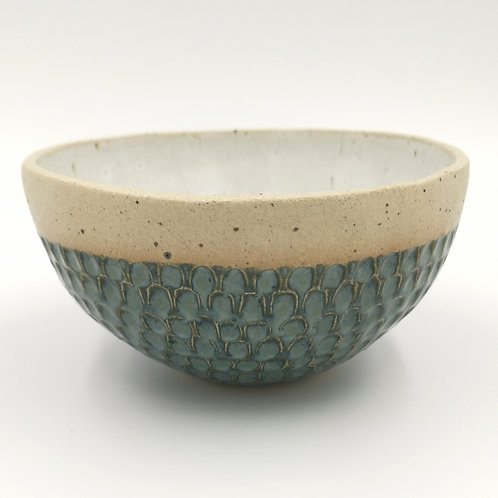 Coiled bowl in fish scale design