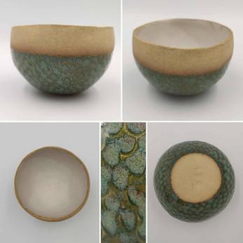 Stoneware with kiwi glaze