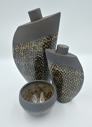 Black fish scale vases and bowl