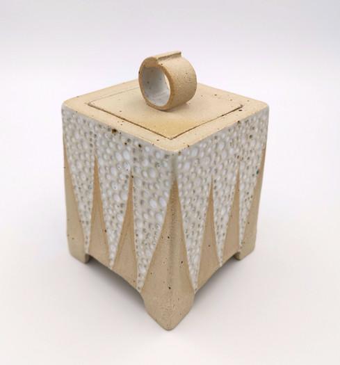 Box Jar - fleckstone clay with white glaze