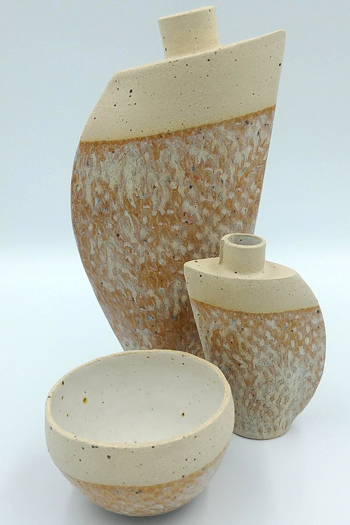Set of 2 vases and small bowl