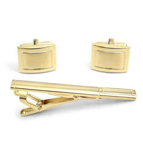 Gold Cufflinks and Tie Bar