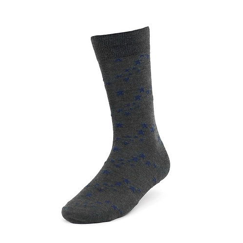 Gray and Blue Star Socks