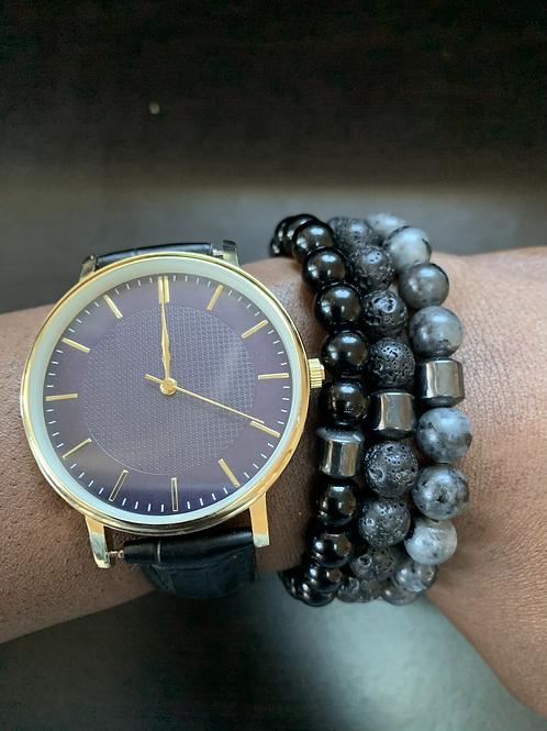 Black and Gray Bracelet Set (3pcs)