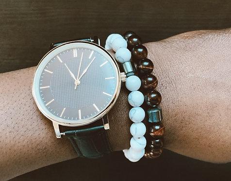 White and Burgundy Bracelet Set (2pcs)