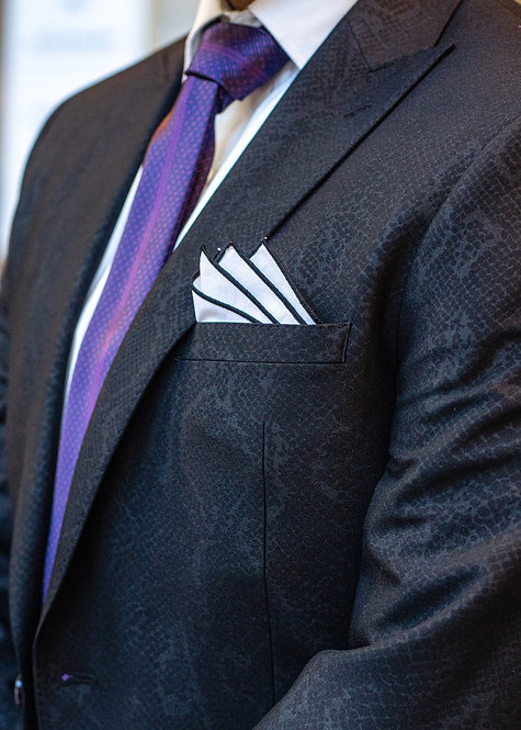 White and Black Pocket Square