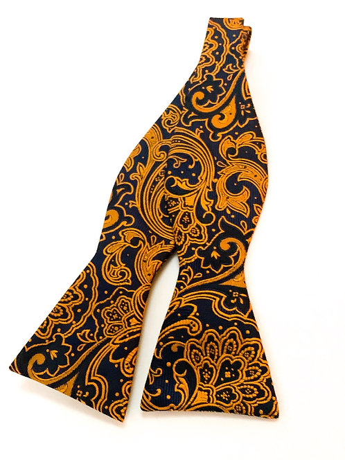 Blue and Gold Argyle Bow Tie