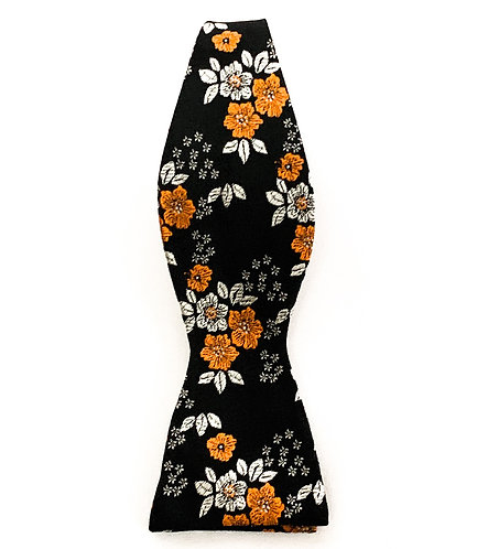 Black and Orange Floral Bow Tie