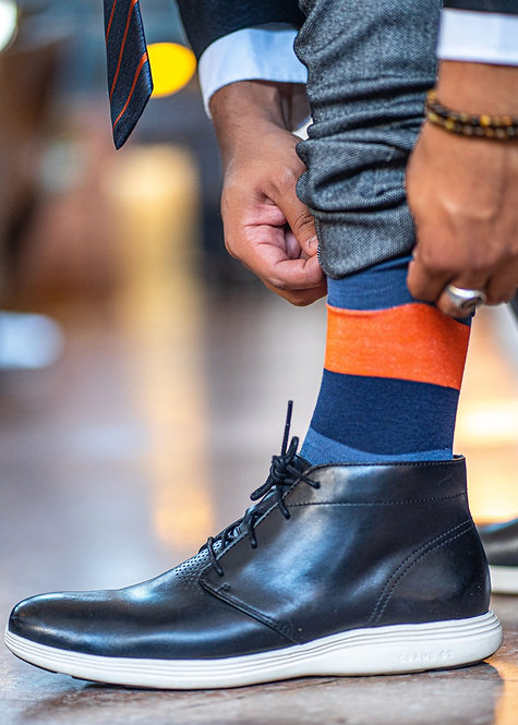 Orange and Blue Stripe Socks
