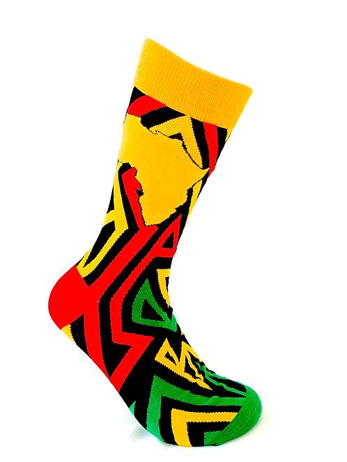 Red African Print Socks