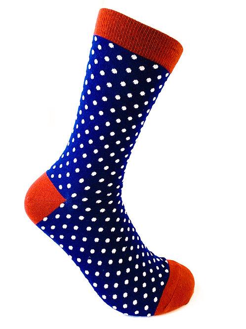 Navy Blue Polkadot Socks