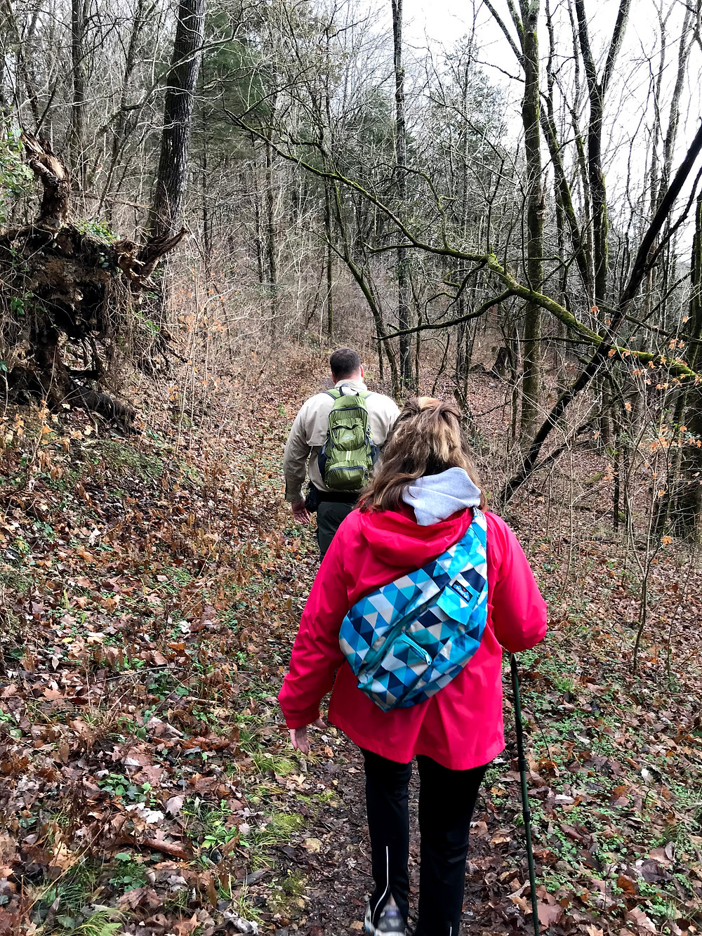 Ranger and fellow hiker start on First Day Hike at Edgar Evins State Park in Tennessee