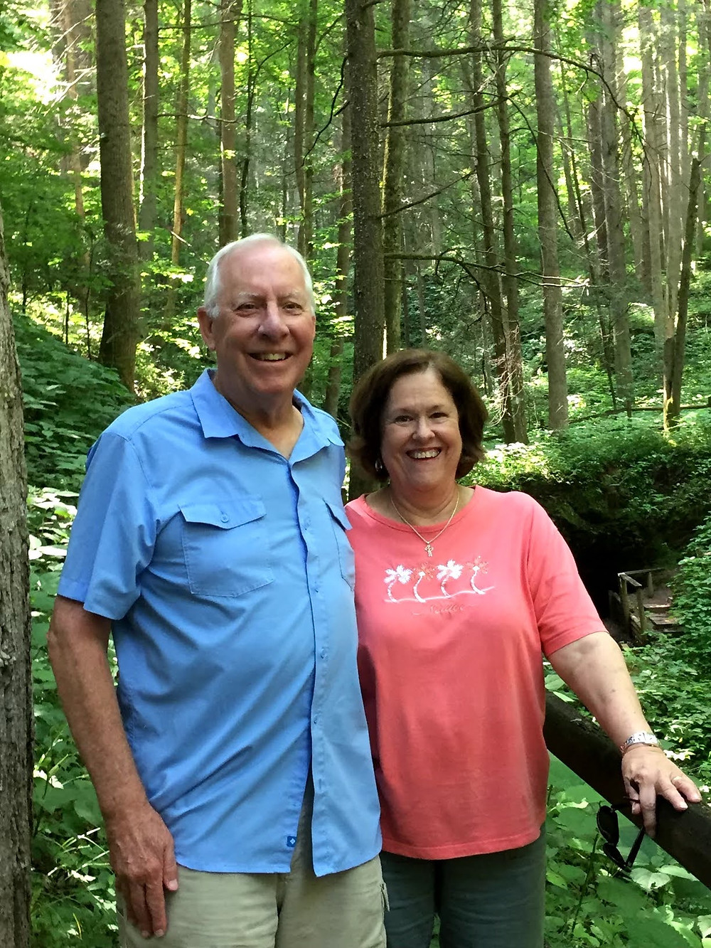 Jim and Mary Davis in the woods at Roan Mountain State Park.